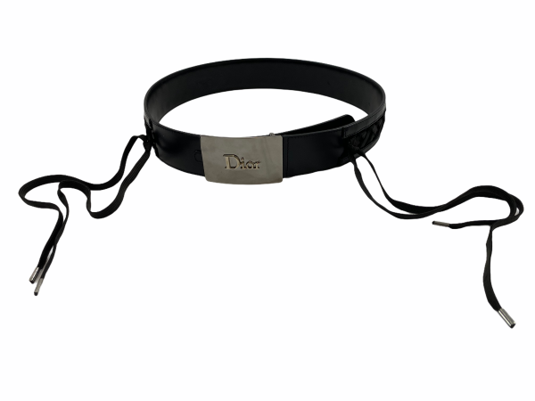 Christian Dior By John Galliano Black Lace up Belt